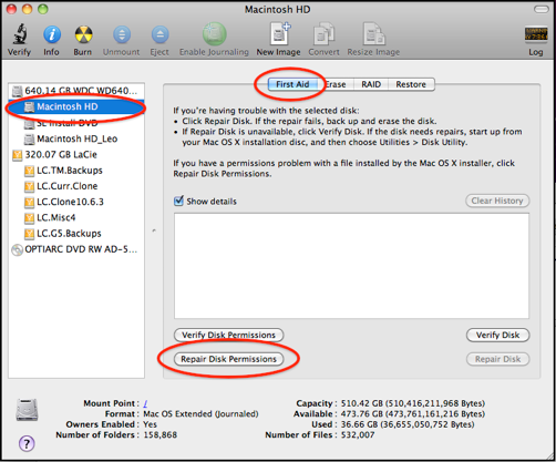 Apple Tips Using Disk Utility 5 Verify Or Repair Disk Permissions